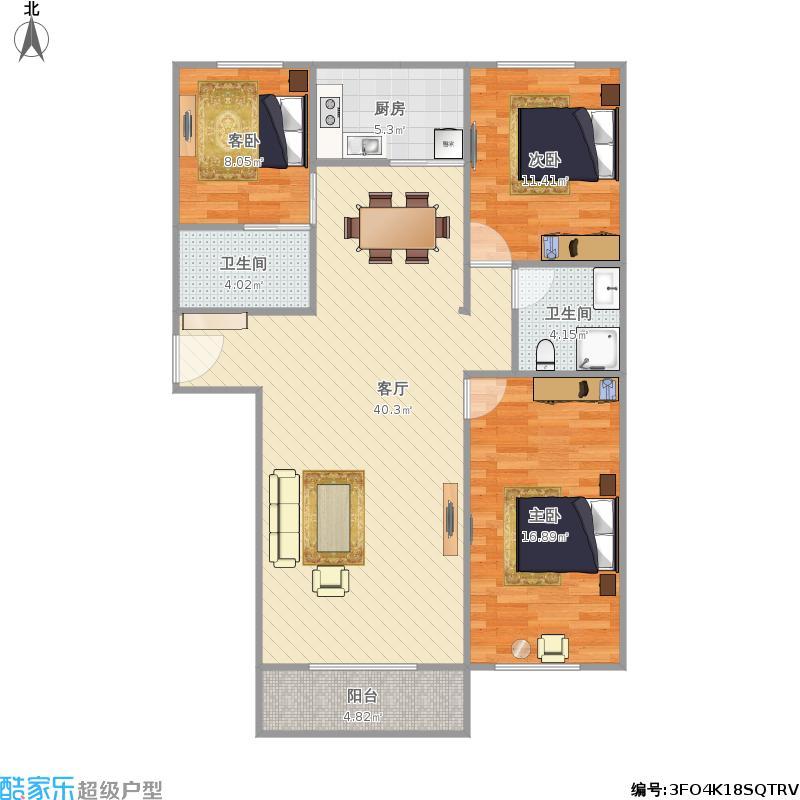 悦府江南120平米三室两厅两卫