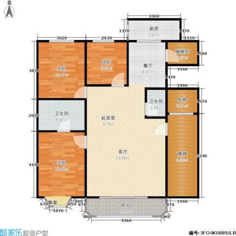 百花园3室0厅2卫1厨107.00㎡户型图