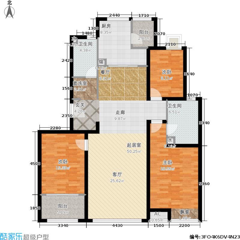 瑞驰・舜耕上城134.00㎡E2户型3室2厅2卫