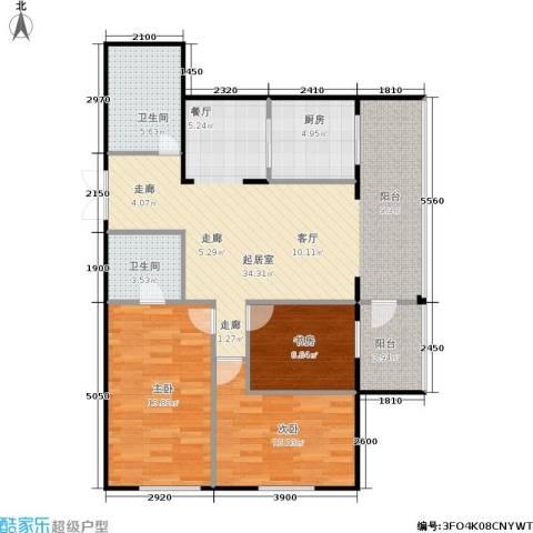 锋华城3室0厅2卫1厨90.00㎡户型图