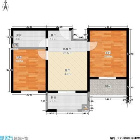 城市新苑2室1厅0卫2厨67.00㎡户型图