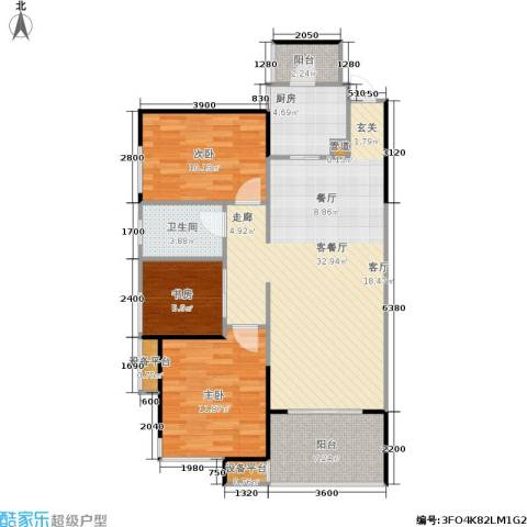 长房南屏锦源3室1厅1卫1厨89.00㎡户型图