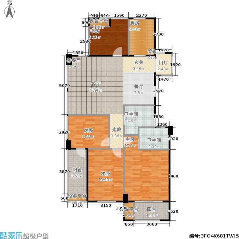 君园和庄129.44㎡二期高层E户型 面积约129.44-132.36平米户型4室2厅2卫