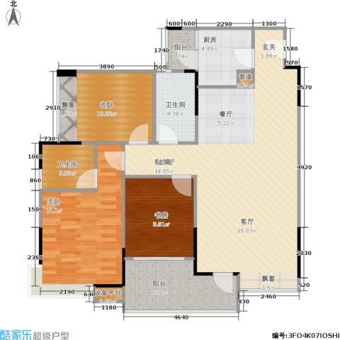 巨成龙湾3室1厅2卫1厨95.42㎡户型图