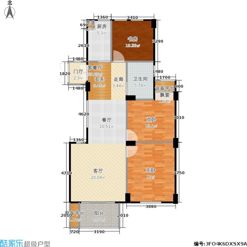 君园和庄107.36㎡二期E1户型3室2厅1卫