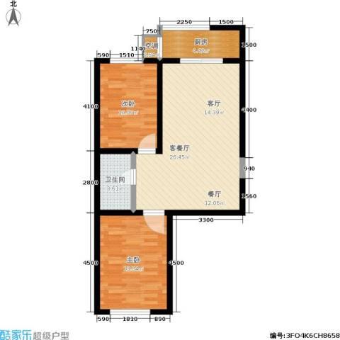 瀛滨寓家园2室1厅1卫1厨75.00㎡户型图