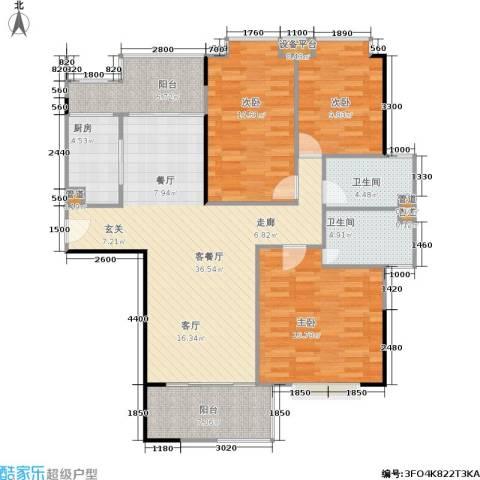 南港名轩3室1厅2卫1厨134.00㎡户型图