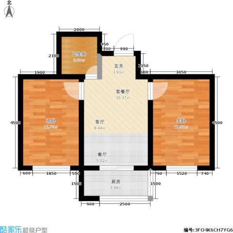 瀛滨寓家园2室1厅1卫1厨60.00㎡户型图