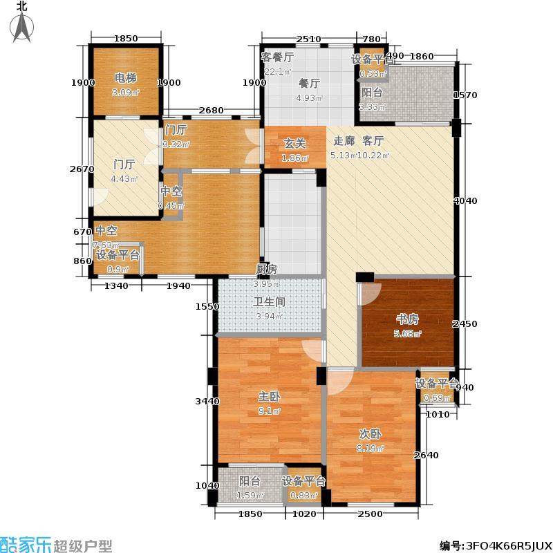 君园和庄89.00㎡A1户型三室两厅一卫约89-109平米户型