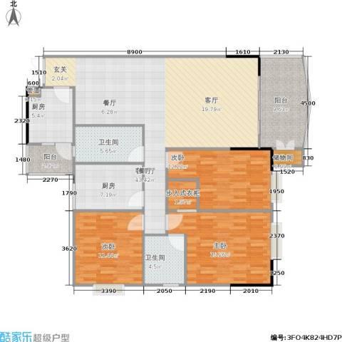 松华阁3室1厅2卫2厨120.00㎡户型图