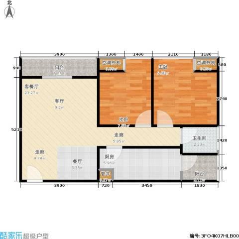 巨东青春华庭2室1厅1卫1厨62.00㎡户型图