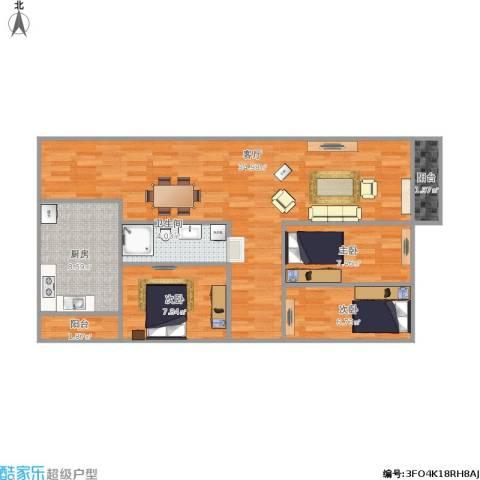 民乐翠园3室1厅1卫1厨100.00㎡户型图
