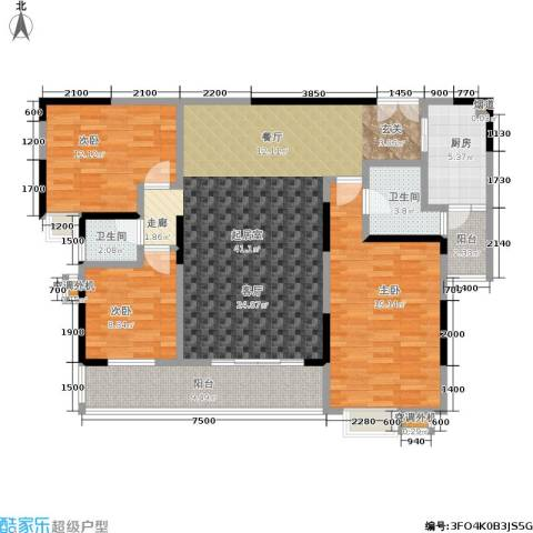 天健芙蓉盛世3室0厅2卫1厨122.00㎡户型图