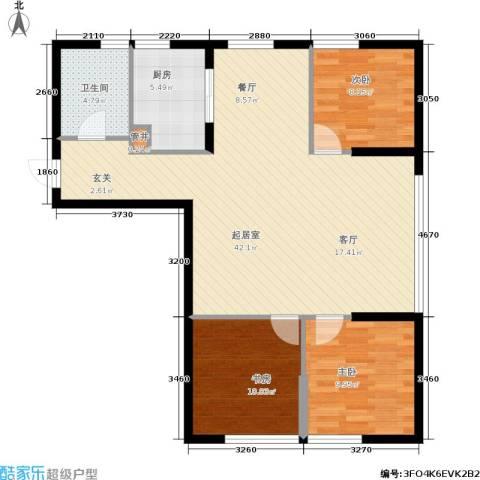 银帆国际3室0厅1卫1厨90.00㎡户型图