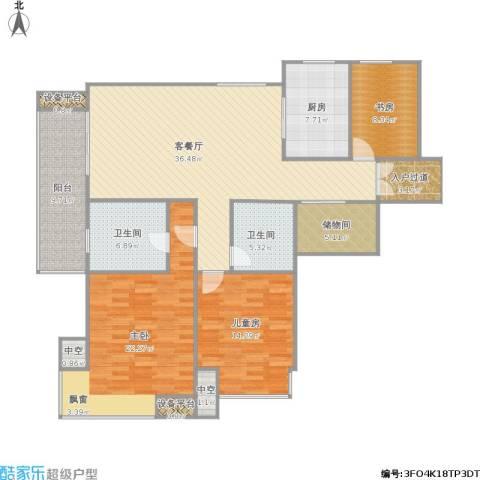 富力十号3室1厅2卫1厨166.00㎡户型图
