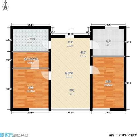 银帆国际2室0厅1卫1厨76.00㎡户型图