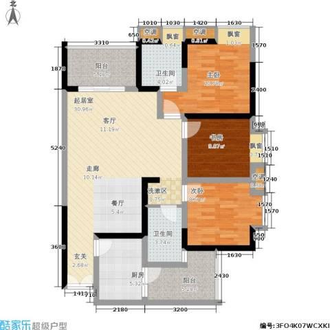 天工太阳岛3室0厅2卫1厨122.00㎡户型图