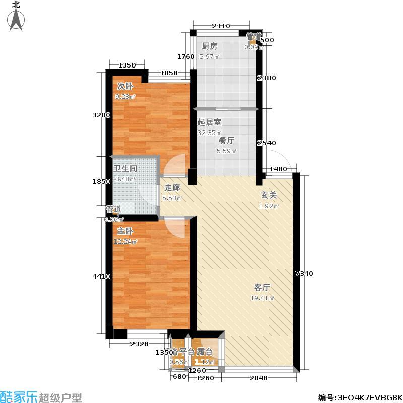 龙腾碧玉湾85.60㎡二室二厅一卫户型
