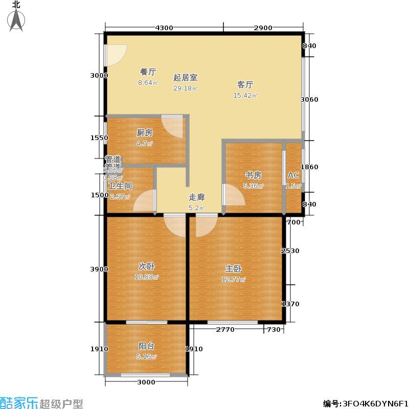 正恒国际广场85.00㎡正恒国际广场户型图2+1房(10/10张)户型3室2厅1卫