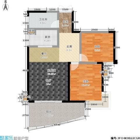 天健芙蓉盛世2室0厅1卫1厨92.00㎡户型图