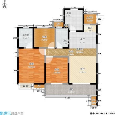 华润橡树湾3室1厅2卫1厨118.00㎡户型图