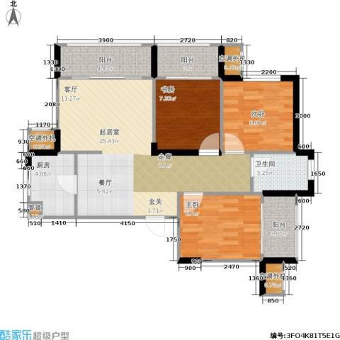 双水湾3室0厅1卫1厨94.00㎡户型图