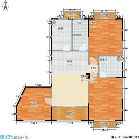蠡湖香榭3室1厅2卫1厨192.00㎡户型图
