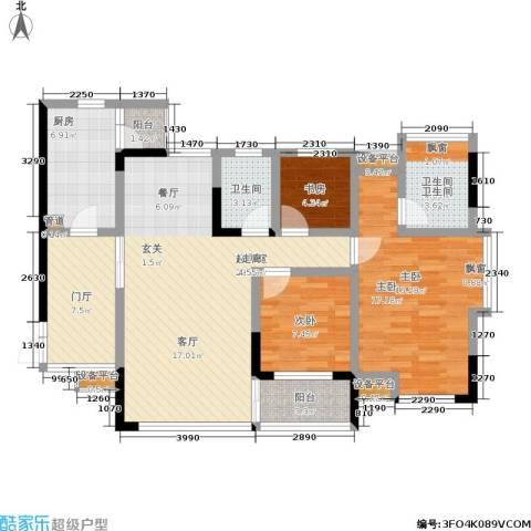 华府春城3室0厅2卫1厨102.00㎡户型图