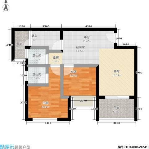 天诚国际2室0厅2卫1厨74.00㎡户型图