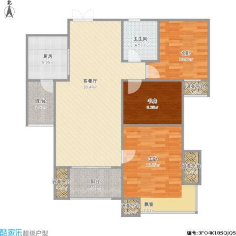 富力十号3室1厅1卫1厨121.00㎡户型图