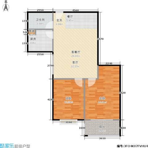 山大新苑2室1厅1卫1厨98.00㎡户型图