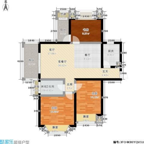盛世名门3室1厅1卫1厨98.83㎡户型图