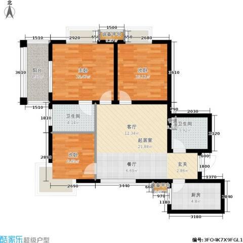 黄金屋3室0厅2卫1厨95.00㎡户型图