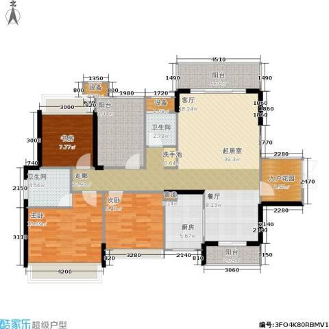 双水湾3室0厅2卫1厨129.00㎡户型图
