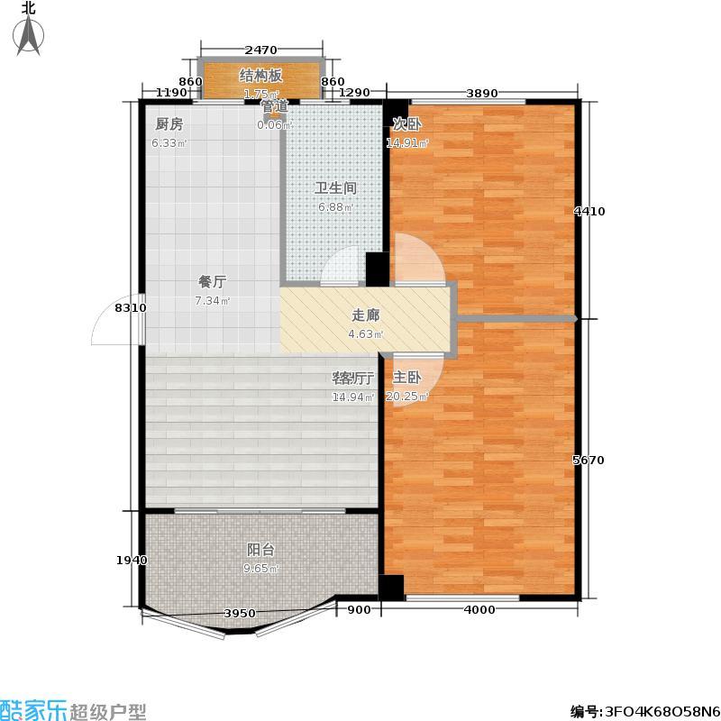 蠡湖香榭93.18㎡蠡湖香榭户型图栋2-401(4/6张)户型2室2厅1卫