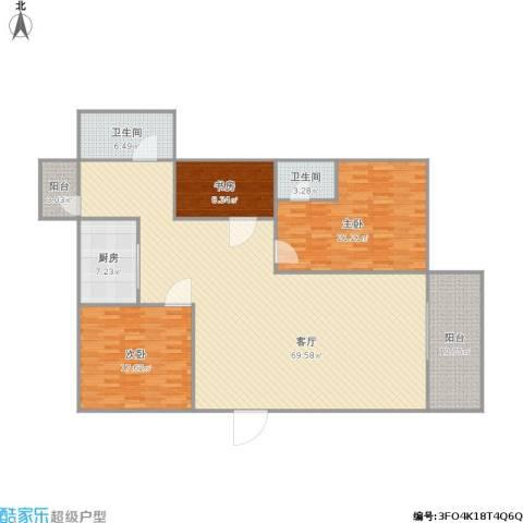 逸港花园3室1厅2卫1厨196.00㎡户型图