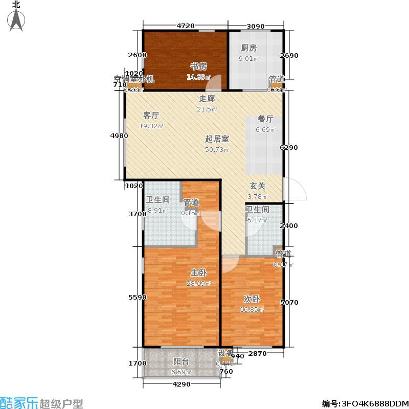 大地锐城151.16㎡A3户型 三室两厅两卫户型3室2厅2卫