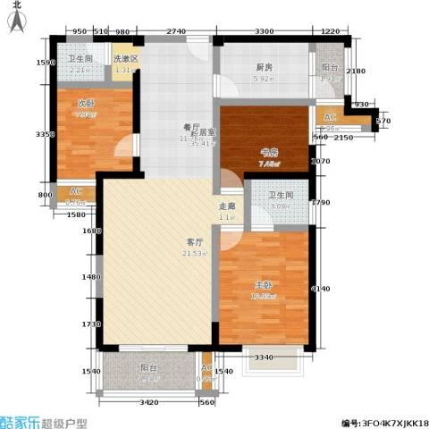 林海阳光3室0厅2卫1厨122.00㎡户型图