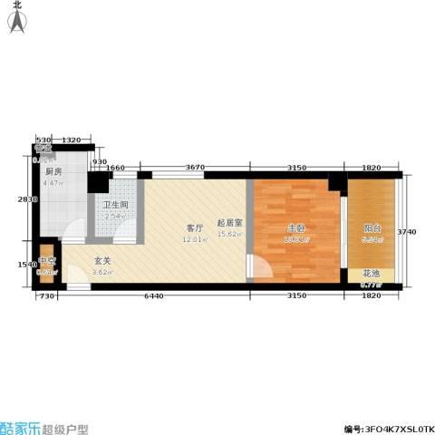 雪梨星光三期1室0厅1卫1厨59.00㎡户型图