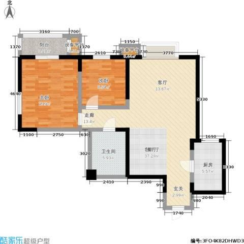 罗曼公社2室1厅1卫1厨85.00㎡户型图