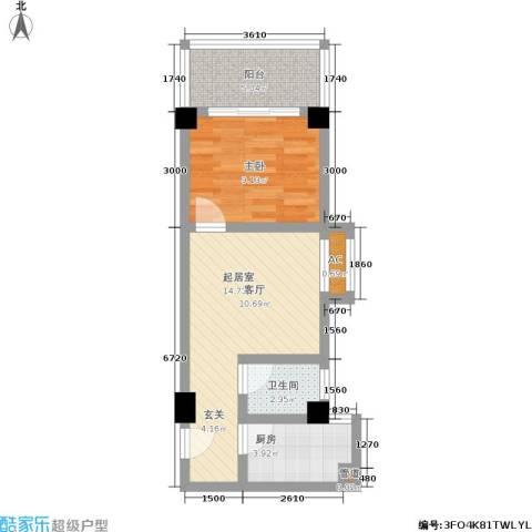 雪梨星光三期1室0厅1卫1厨55.00㎡户型图