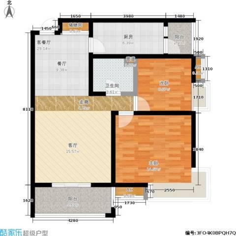 �灞新城2室1厅1卫1厨80.00㎡户型图