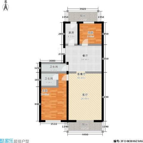 密西花园小区2室1厅2卫1厨95.00㎡户型图