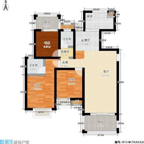 观海澜庭3室0厅2卫1厨121.00㎡户型图
