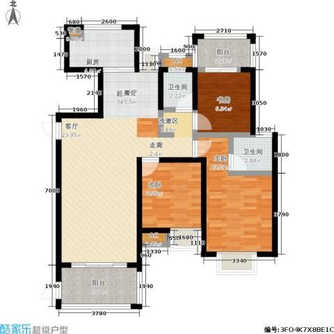 观海澜庭3室0厅2卫1厨123.00㎡户型图