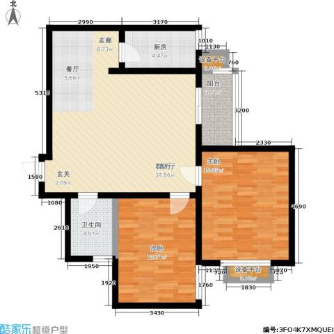 天伦盛世2室1厅1卫1厨88.51㎡户型图