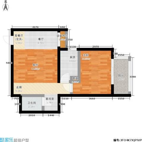 广丰花园1室1厅1卫1厨56.00㎡户型图