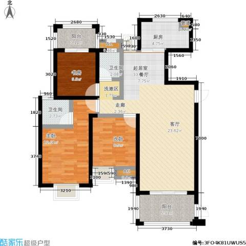 观海澜庭3室0厅2卫1厨120.00㎡户型图