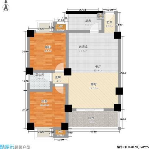雪梨星光三期2室0厅1卫1厨101.00㎡户型图