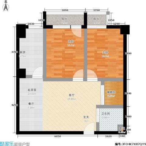 瑞景双座2室0厅1卫1厨88.00㎡户型图
